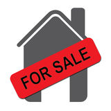 House for sale. Illustration of a gray symbol for a house with chimney and attached to it a red board with text 'for sale' in upper case black letters stock illustration