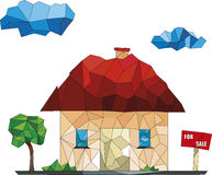 House for sale low poly illustrations. Green trees and a low house on a white background Stock Photo
