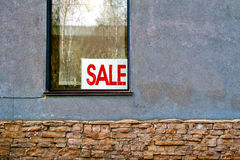 House for Sale. Old Wall with the Window. House for Sale Royalty Free Stock Image