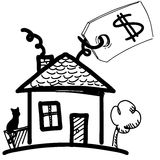 House with sale or price label Stock Photo