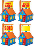 House For Sale, Rent or Sold. Vector Image of a House with a sign That is For Sale, For Rent, Sold or Blank Stock Images