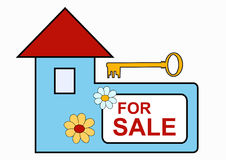 House for sale sign. Blue house with for sale text and key, vector illustration Royalty Free Stock Photos
