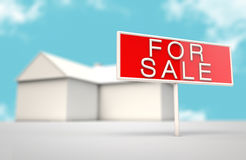 House with a for sale sign Royalty Free Stock Image