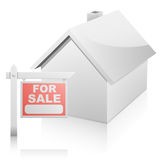 House with For Sale Sign Stock Image