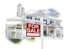 House and For Sale Sign Drawing and Photo on White Royalty Free Stock Photography