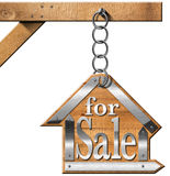 House For Sale - Sign Hanging from Chain Royalty Free Stock Images