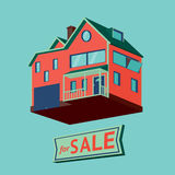 House with a for sale sign. House for sale. Isolated wooden cottage royalty free illustration