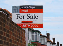 House for sale sign. In London street. UK Royalty Free Stock Image