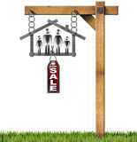 House For Sale Sign - Metal Meter with Family. Meter ruler in the shape of house with symbol of a family, label with text for sale. Hanging from a chain on a stock illustration