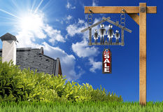 House For Sale Sign - Metal Meter with Family. Meter ruler in the shape of house with symbol of a family, label with text for sale. Real estate sign on blue sky stock illustration