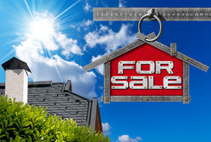 House For Sale Sign - Metallic Meter Royalty Free Stock Images