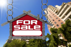 House For Sale Sign - Metallic Meter Stock Images