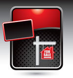 House for sale sign on red stylized template Stock Photo