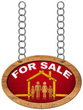 House For Sale Sign - Wooden Meter with Family. Wooden sign with wooden meter ruler in the shape of house with symbol of a family and text for sale. Real estate vector illustration