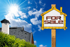 House For Sale Sign - Wooden Meter Stock Images