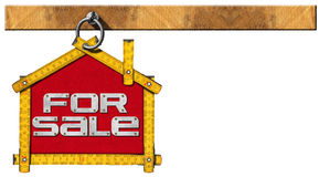 House For Sale Sign - Wooden Meter. Yellow wooden meter ruler in the shape of house with text for sale. For sale real estate sign isolated on white background royalty free illustration