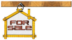 House For Sale Sign - Wooden Meter. Yellow wooden meter ruler in the shape of house with text for sale. For sale real estate sign isolated on white background stock illustration