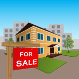 House for sale sign and wooden Stock Images