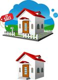 Small house illustration. An illustration of a small house with a For sale tag Stock Image