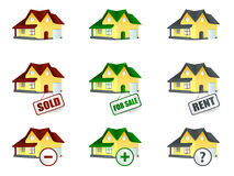House for sale and sold. House for sale icons set Royalty Free Stock Photos
