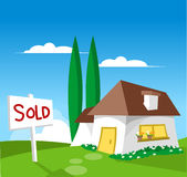 House for sale - Sold. (check out my other illustration with FOR SALE sign Stock Image