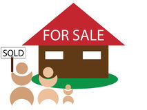 House for sale - sold. Happy family bought a new house vector illustration