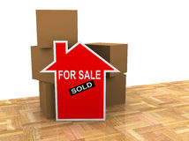House for sale sold sign. House sold sign with empty card board boxes royalty free illustration