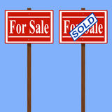 House for sale and sold signs. Royalty Free Stock Images