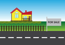 House For Sale. Vector illustration of house on the green land with fence and for sale board Stock Photos