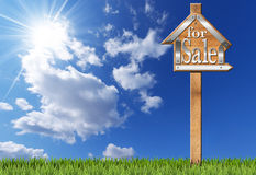 House For Sale - Wooden Sign with Pole Stock Image