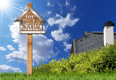 House For Sale - Wooden Sign with Pole Royalty Free Stock Photography