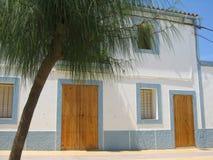 House in San Francesc - Formentera. White and blue house in San Francesc - Formentera Island - Baleraes stock photo