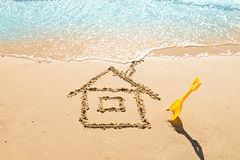 House on the sand. Drawing of a house on the beach - concept safety and vacation Royalty Free Stock Images