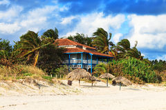 House on sandy beach Royalty Free Stock Images