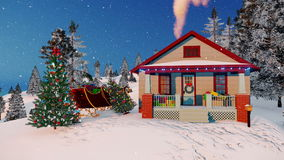 House of Santa Claus decorated for Christmas 4K. House of Santa Claus with gift boxes on its porch and decorated Christmas tree and Santas sleigh in the yard at stock video