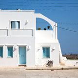 House in santorini greece europe old construction white and blue Stock Image
