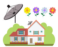 House with satellite dish and flower garden in flat style Royalty Free Stock Photo