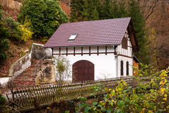 House, Saxon Switzerland. Saxon Switzerland (German: Sächsische Schweiz) is a hilly climbing area and national park around the Elbe valley south-east of Dresden Royalty Free Stock Image