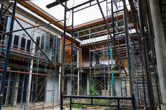 House in scaffolding Stock Images