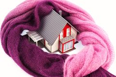 House with a scarf. photo icon insulation Stock Photo