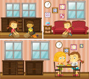 House scene with kids doing different activities Stock Image