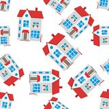 House seamless pattern background icon. Business flat vector ill Royalty Free Stock Photography
