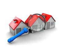House search. Abstract 3d illustration, searcing for perfect house symbol Stock Images