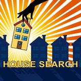 House Search Indicates Housing Residence 3d Illustration. House Search Home Indicates Housing Residence 3d Illustration Royalty Free Stock Images