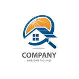 House search logo vector. Searching for a house concepts, House with Magnifier, Icon for real estate renovation Stock Image