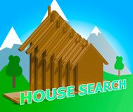 House Search Meaning Housing Finder 3d Illustration. House Search Houses Means Housing Finder 3d Illustration Stock Image