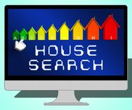 House Search Representing Housing Residence 3d Illustration. House Search Laptop Representing Housing Residence 3d Illustration Stock Photo