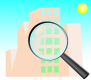 House search, research. Magnifying glass zoom on a building Stock Images