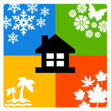 House seasons. House keeping you warm, protected and cool during all seasons Stock Photo