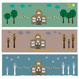 House in Seasons Royalty Free Stock Photography